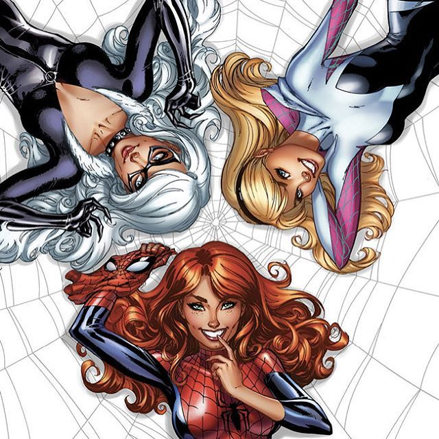 "J Scott Campbell ♠! (@jscottcampbellart) on Instagram: ""ON SALE NOW!! Amazing Spider-Man #25 jscottcampbell.com EXCLUSIVE Cover. Marvel - Black Cat - Spider-Gwen - Mary Jane Watson"