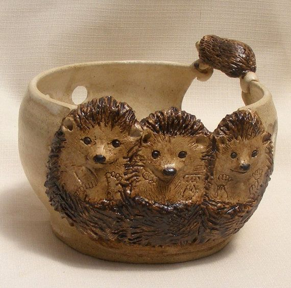 Stoneware Yarn bowl Ceramic yarn bowl with three by OrnaArtHeart, $42.00