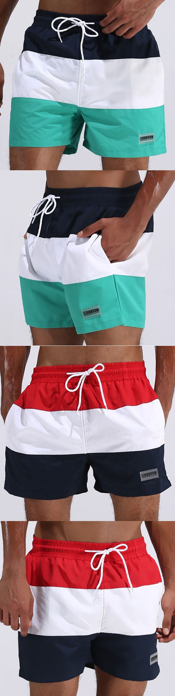 ESCATCH Outdoor Loose Pockets Stripes Breathable Swimwear Beach Shorts for Men