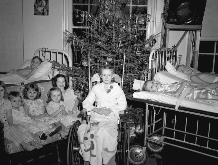 Alton Memorial's polio ward was busy with children struck by  the disease in an epidemic in the late 1940s and '50s. Many  patients were unable to return home at Christmas so staff  and families decorated the ward and plenty of gifts were  distributed.
