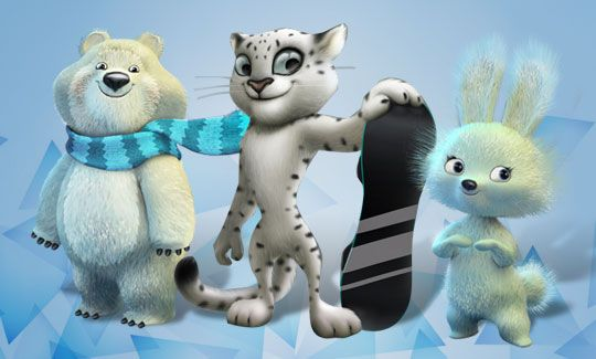 Three Olympic Mascots For Sochi 2014 chosen by popular vote of the people hare polar bear leopard