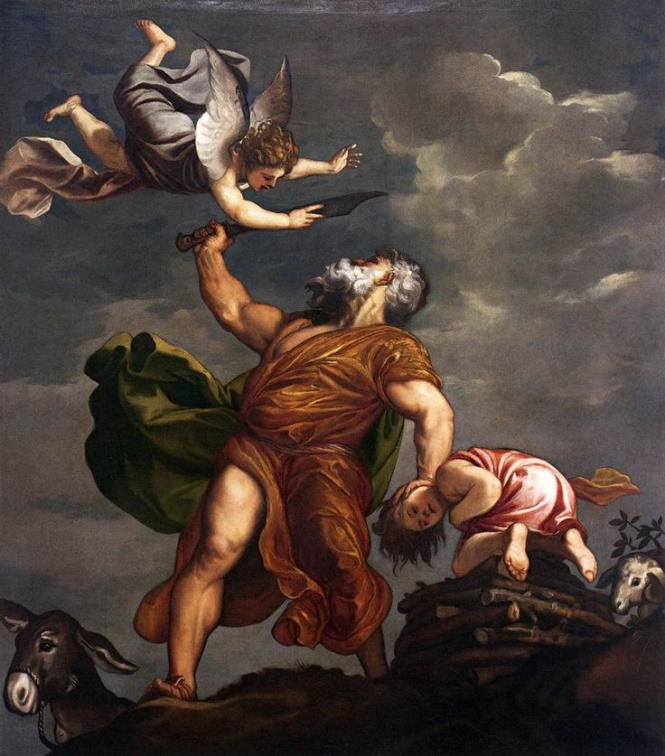 """""""Abraham and Isaac"""" from 1542-44 by Titian (Pieve di Cadore 1488-90 -Venice 1576). Oil on canvas (328cmx285cm). Pendentive of the cupola at Santa Maria della Salute, Venice."""