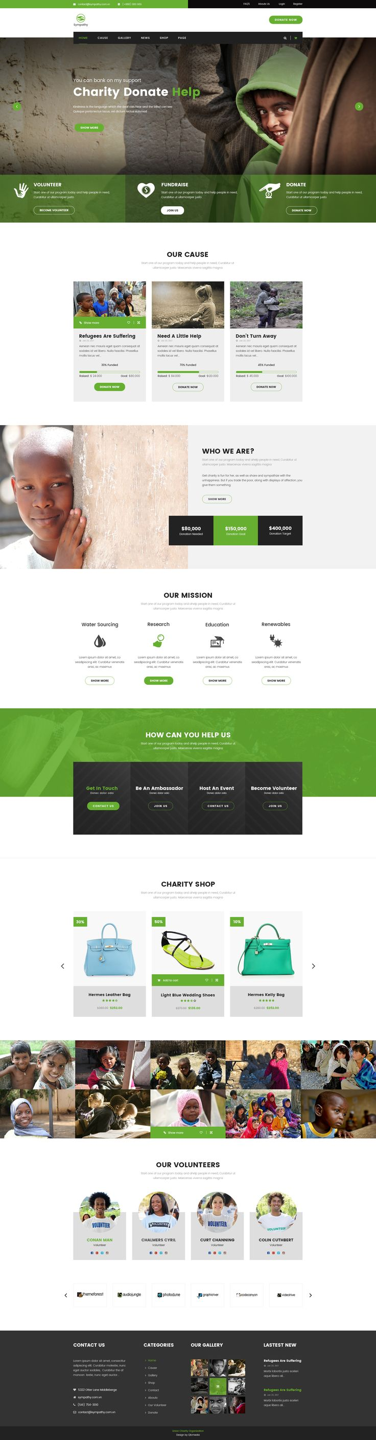 Sympathy   Charity, Non-Profit & Donations PSD Template #save children #shop • Download ➝ https://themeforest.net/item/sympathy-charity-nonprofit-donations-psd-template/19532782?ref=pxcr