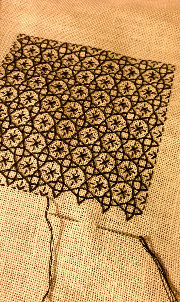 Blackwork stitched embroidery sampler by Alicia Paulson