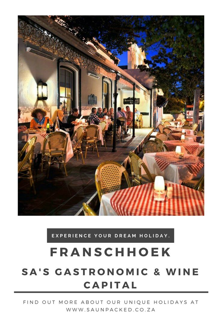 Franschhoek, the gastronomic capital of South Africa. Sitting in the heart of SA's winelands it's a perfect setting for a holiday to remember.