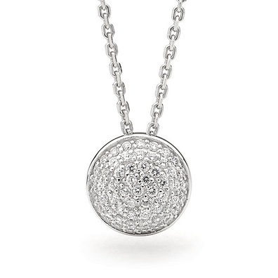 Silver and Some - Georgini Necklace, Round Pave Pendant.    This beautiful round pave pendant is 10mm in diameter and comes with a 46cm sterling silver chain. (chain displayed may differ from actual necklace)