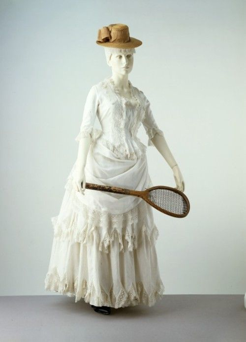 An 1885 cotton summer ensemble. Cotton is easily washable and was therefore considered suitable for Victorian approved outdoor activities such as tennis and croquet.
