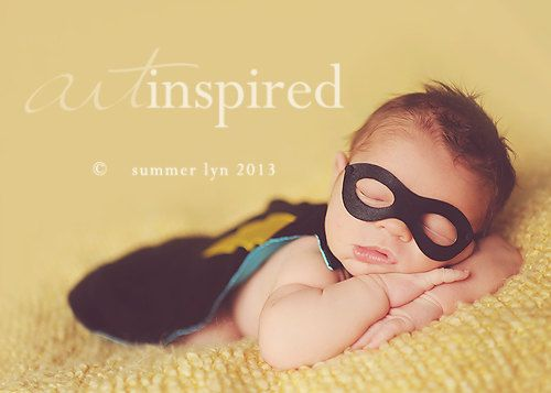 Newborn Superhero CAPE and MASK Outfit - Black Photography Prop or Halloween Costume for Infant and Baby on Etsy, $46.00