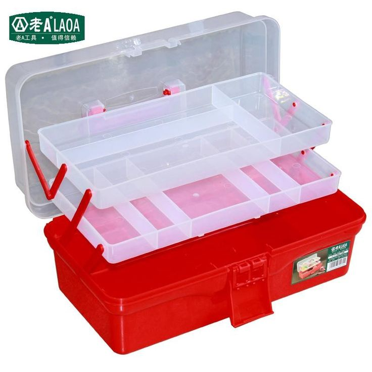 1 PCS LAOA  Transparent Folded Tool Box Work-box  Toolbox Tools Kit Workbin For Storage Toys Color Coating Cosmetic