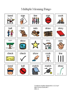 Multiple meaning bingo. Free download! Super cute modification to meet common core.