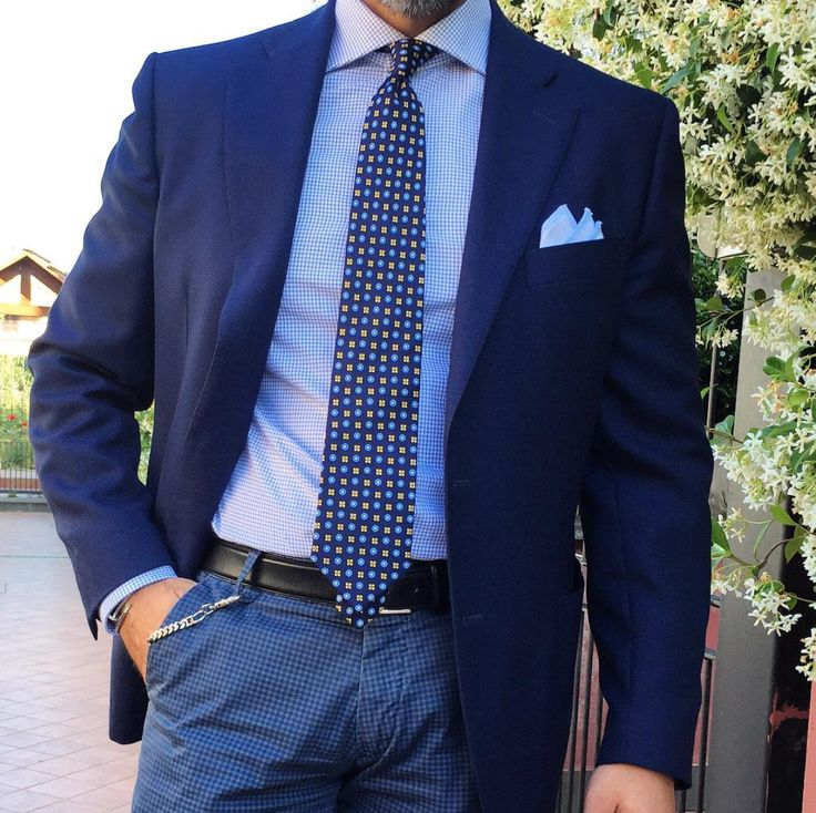 Combination of menswear blues.