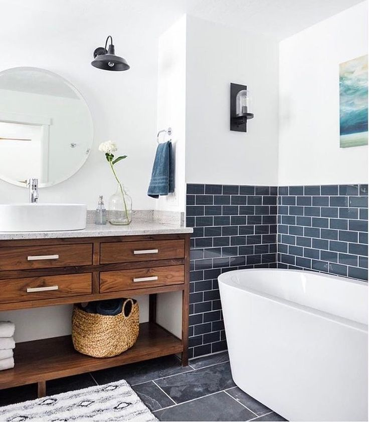 Navy Subway Tile Adds Contrast Against While Walls To This Bathroom With A  Standalone Tub And Wood Vanity. Subway Tile Doesnu0027t Have To Be White   Add  A ...