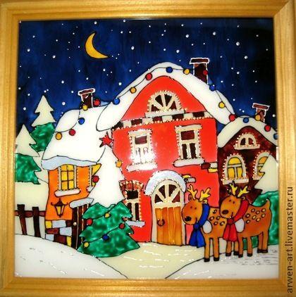 """Город ручной работы. Ярмарка Мастеров - ручная работа Картина на стекле """"Новогодняя сказка"""". Handmade."""