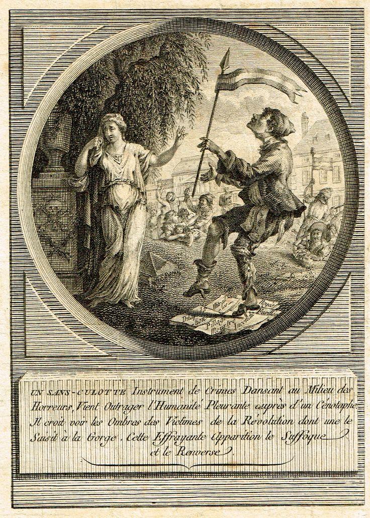 """""""Un sans-culotte Instrument de Crimes dansant au milieu des horreurs, vient outrager l'Humanité pleurante auprès d'un cénotaphe. Il croit voir les ombres des victimes de la Révolution dont une le saisit à la gorge. Cette effrayante apparition le suffoque et le renverse."""" - avec la silhouette de Louis XVI"""
