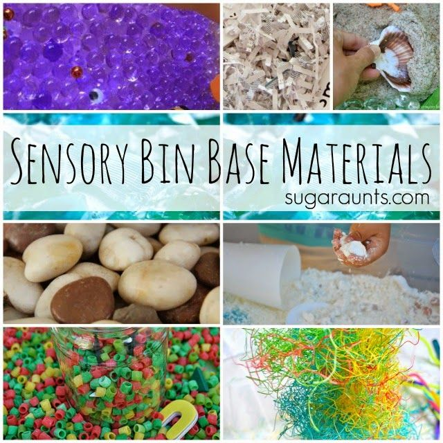Add to these base materials for sensory bin play.