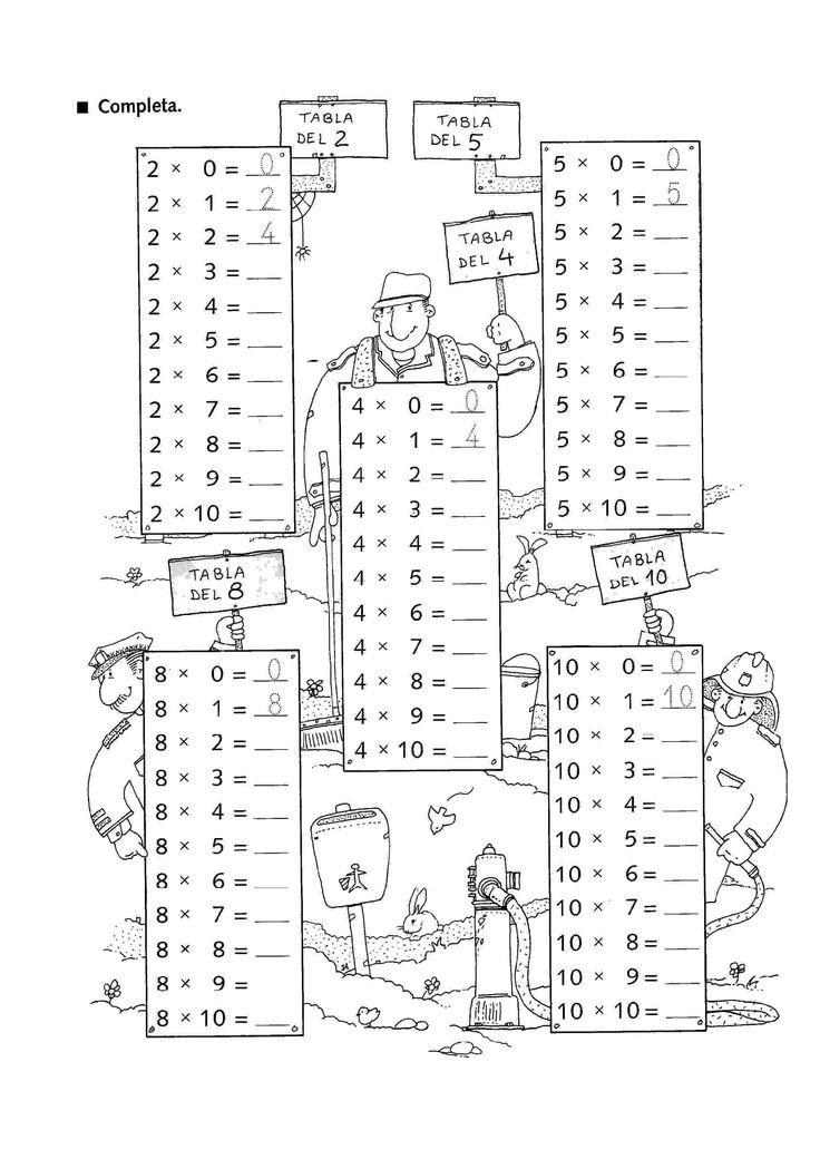 Actividades para niños preescolar, primaria e inicial. Fichas con multiplicaciones divertidas para imprimir para niños de primaria. Multiplicaciones divertidas. 2
