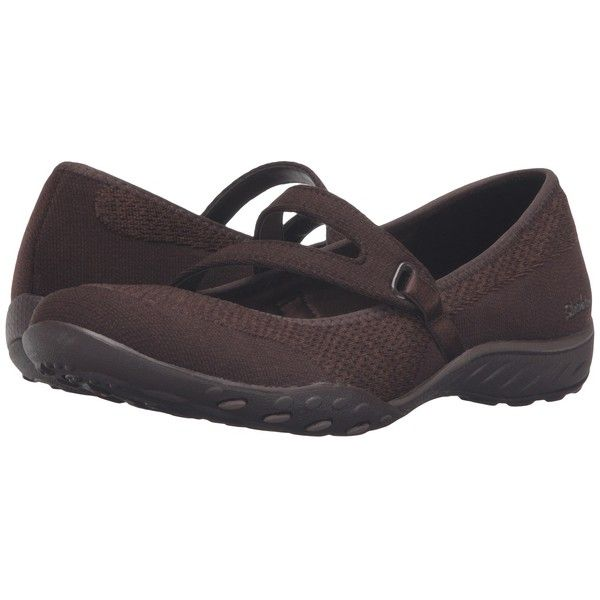 SKECHERS Active Breathe Easy - Lucky Lady (Chocolate) Women's  Shoes ($65) ❤ liked on Polyvore featuring shoes, traction shoes, skechers mary janes, mary-jane shoes, short heel shoes and mary jane shoes