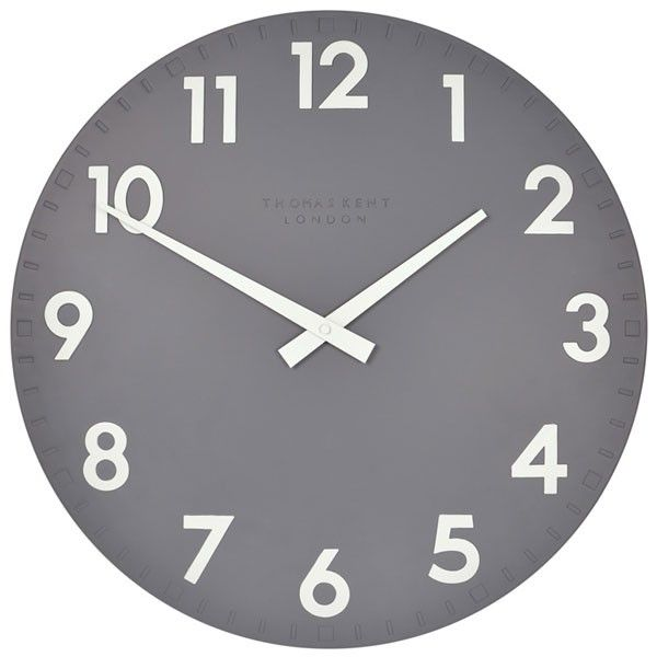 Thomas Kent Camden Clock Slate - 20 inch - Give some definition to your walls and home with this large dark grey wall clock from Thomas Kent. This uniform clock adds sophistication and clear design to any room. The Thomas Kent Camden Clock Slate is hand painted and made from a solid resin.