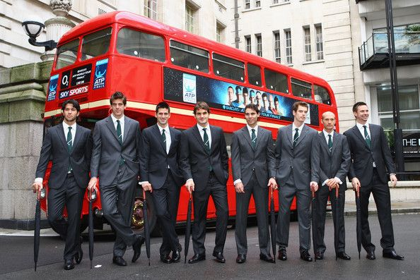 Juan Martin Del Potro Photos Photos - (L-R) Fernando Verdasco of Spain, Juan Martin Del Potro of Argentina, Novak Djokovic of Serbia, Roger Federer of Switzerland, Rafael Nadal of Spain, Andy Murray of Great Britain, Nikolay Davydenko of Russia and Robin Soderling of Sweden pose with umbrellas in front of a London Bus during the Barclays ATP World Tour Finals - Media Day at the County Hall Marriot Hotel on November 20, 2009 in London, England. - ATP World Tour Finals - Media Day
