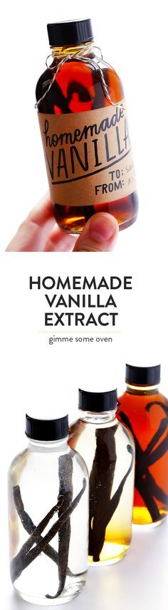 Learn how to make Homemade Vanilla Extract with this easy recipe, which includes (free!) printable labels. Perfect for holiday gifts!   gimmesomeoven.com