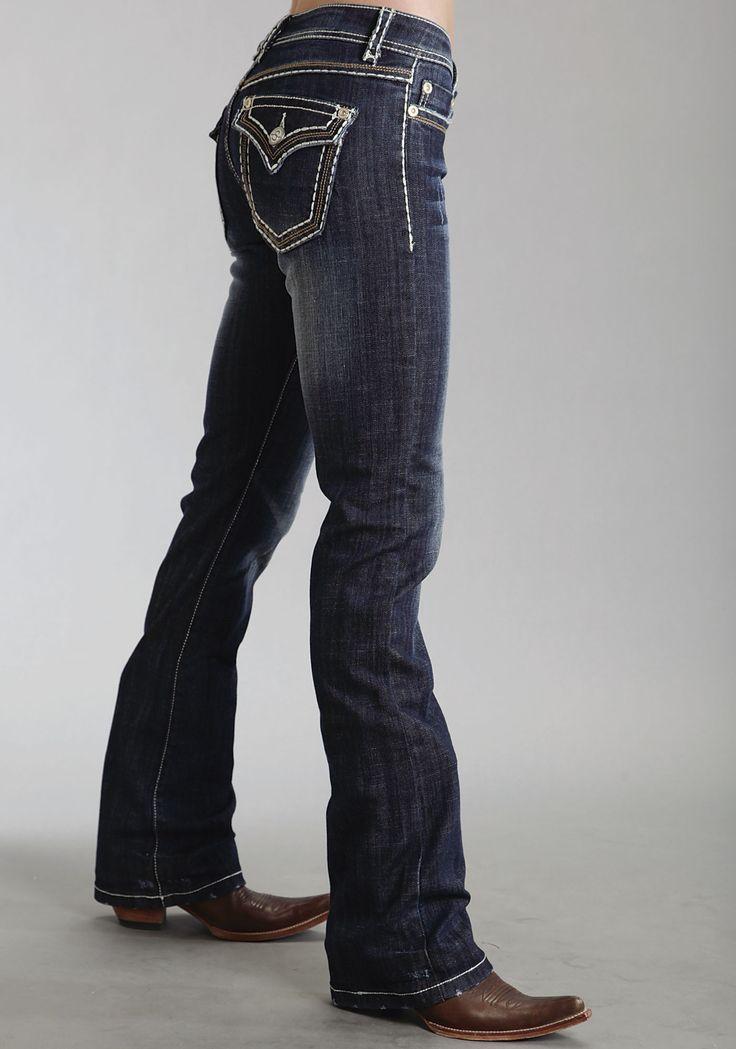 Stetson Womens Blue Cotton Blend Contemporary 818 Fit Boot Cut Jeans