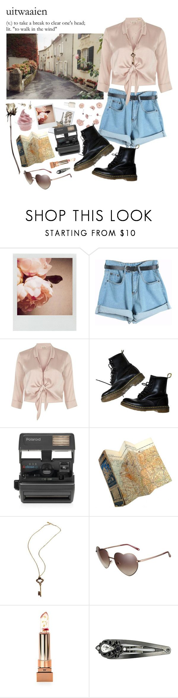 """uitwaaien"" by anastaziah2014 ❤ liked on Polyvore featuring Polaroid, Chicnova Fashion, River Island, Dr. Martens, Impossible, Essie, Love, Disney, Forever 21 and 1928"