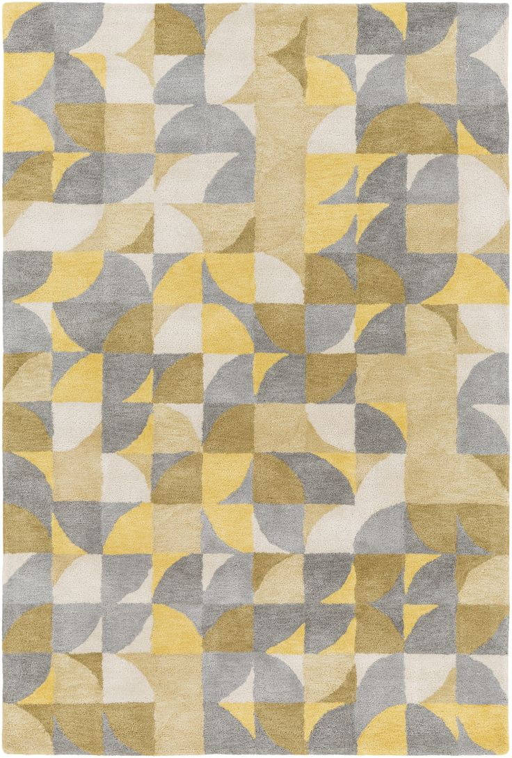 Surya Brilliance Brl2013 Yellow Grey Geometric Area Rug