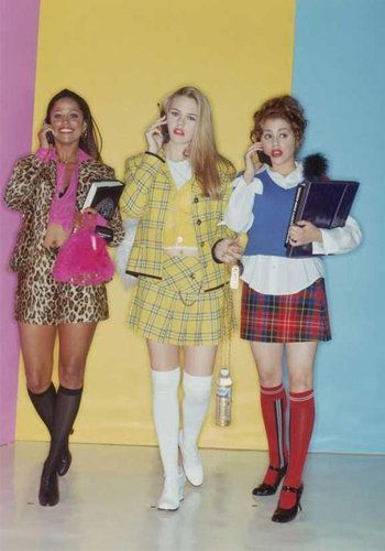 We have Cher Horowitz and friends to thank for the knee socks and Mary Jane heels trend. A miniskirt was required.
