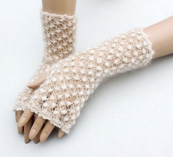 Lace fingerless gloves knit crochet