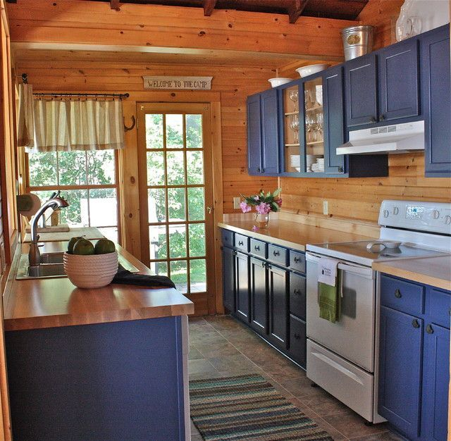 Primitive log cabin Kitchen Cabinets blue | Updating Knotty Pine Kitchen Cabinets