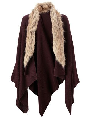 Knitted Faux Fur Trim Poncho | Red | Accessorize
