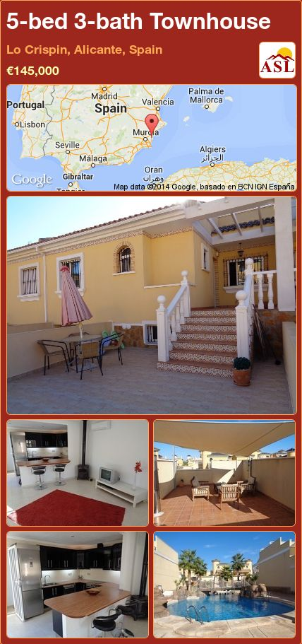 5-bed 3-bath Townhouse in Lo Crispin, Alicante, Spain ►€145,000 #PropertyForSaleInSpain