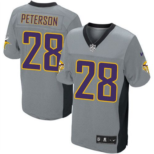 nike nfl elite mens minnesota vikings grey shadow 28 adrian peterson jersey 129.99