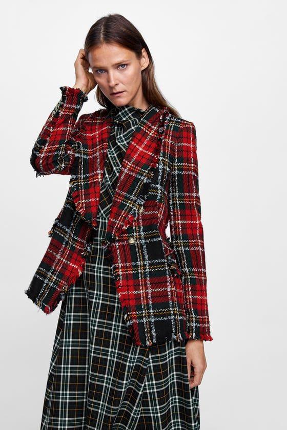 74211021358b изображение 2 из ПИДЖАК ИЗ ТВИДА В КЛЕТКУ от Zara   Zara   Tweed ...