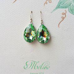 Boucles d'oreille imposantes gouttes vert d'eau méline - l'instant c