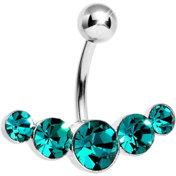 Teal Gem Five Across Belly Ring #piercing #Bellyring #beauty