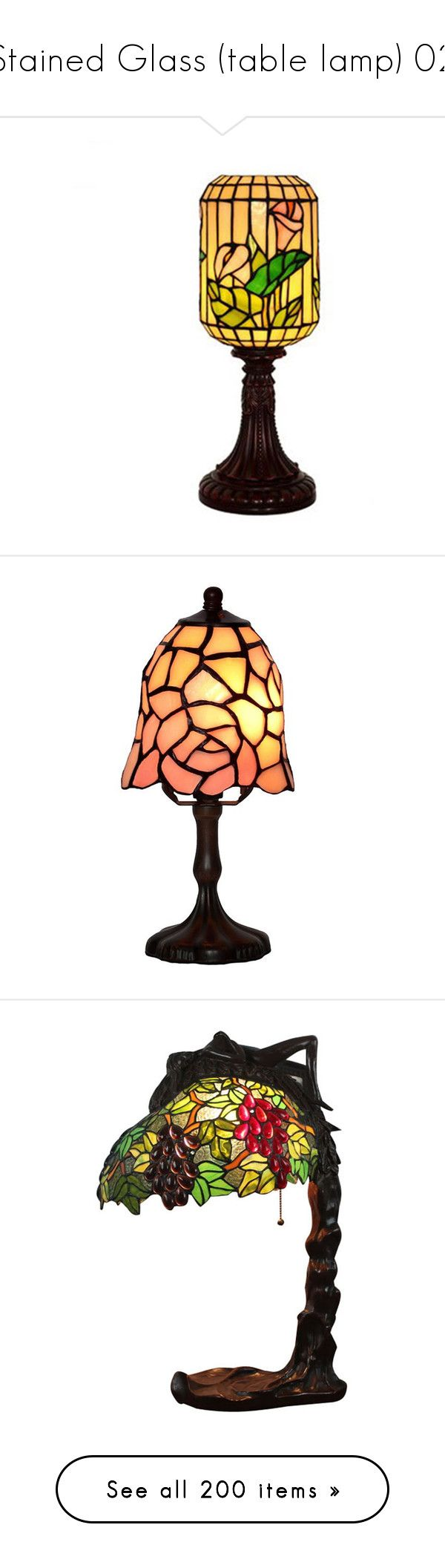 """""""Stained Glass (table lamp) 02"""" by papee ❤ liked on Polyvore featuring home, lighting, table lamps, colored lamps, handmade lamps, tiffany style lighting, tiffany style table lamps, colored lights, flower stem and flower table lamp"""
