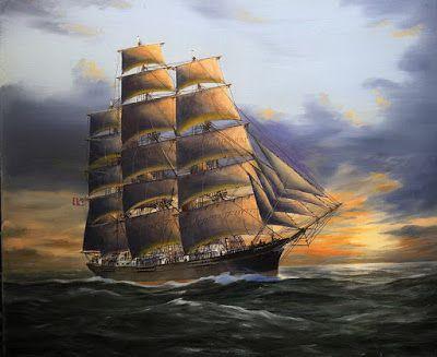 Pintura Moderna y Fotografía Artística : Cuadros Con Barcos Antiguos Pintados al Óleo en El Mar