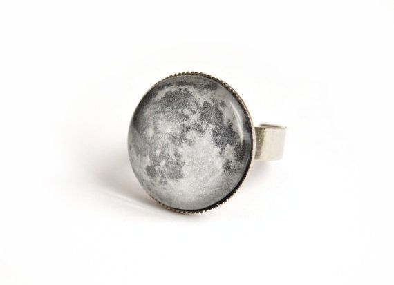 #moon #ring with glass cabochon by #veracreations on #etsy