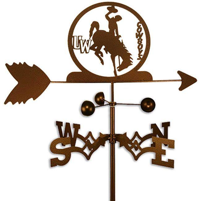 University of Wyoming Cowboys Weathervane (Garden Mount), Brown copper (Steel), Outdoor Décor