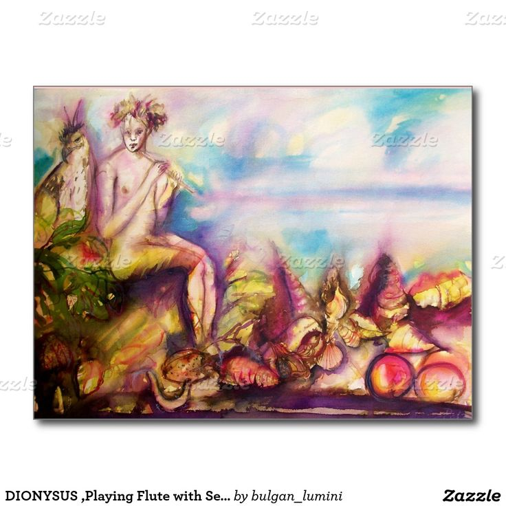 DIONYSUS ,Playing Flute with Sea shells and Fruits Postcard