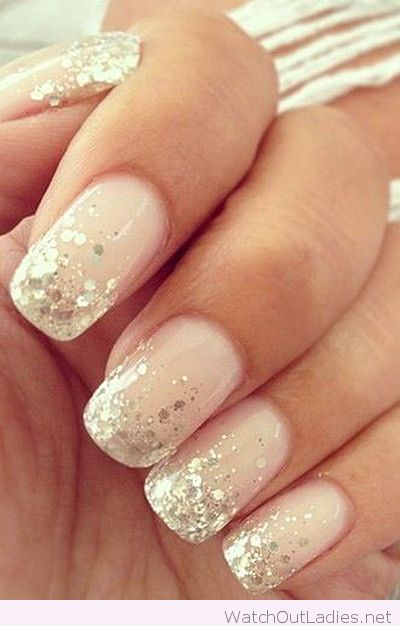 Unique wedding nails with glitter