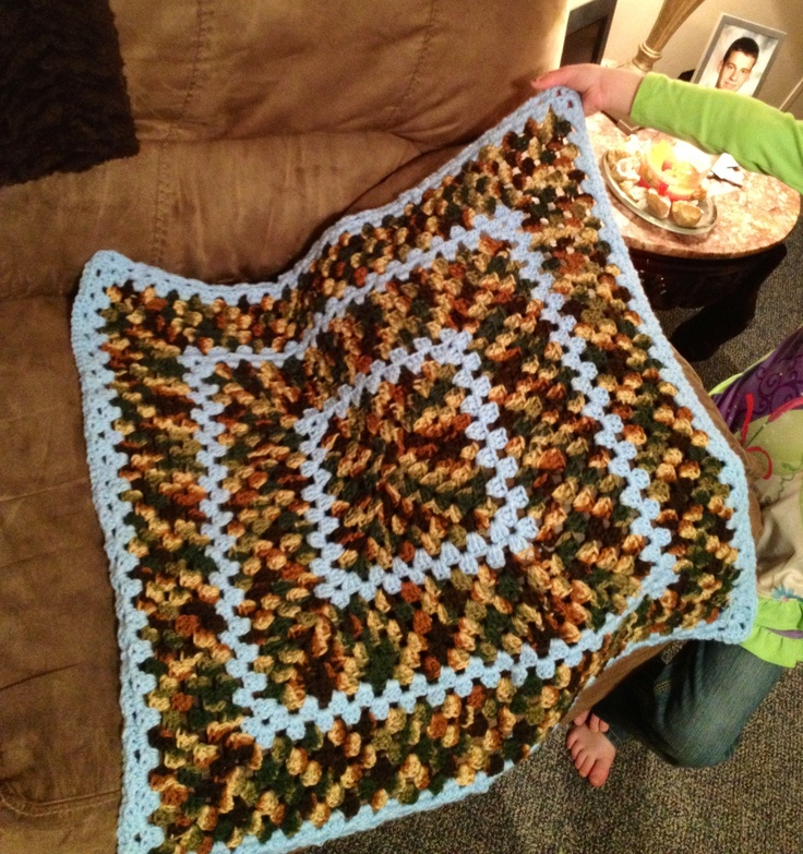 Crocheted Baby Blanket For A Boy Baby Blue And Woodsy