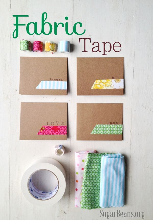 Making fabric tape has a  few fun benefits: 1. it is one more way to use up thosefabric scraps, 2.  you can choose any eclectic or vintage fabric & 3. it adds a little quirky  love to any package or gift.
