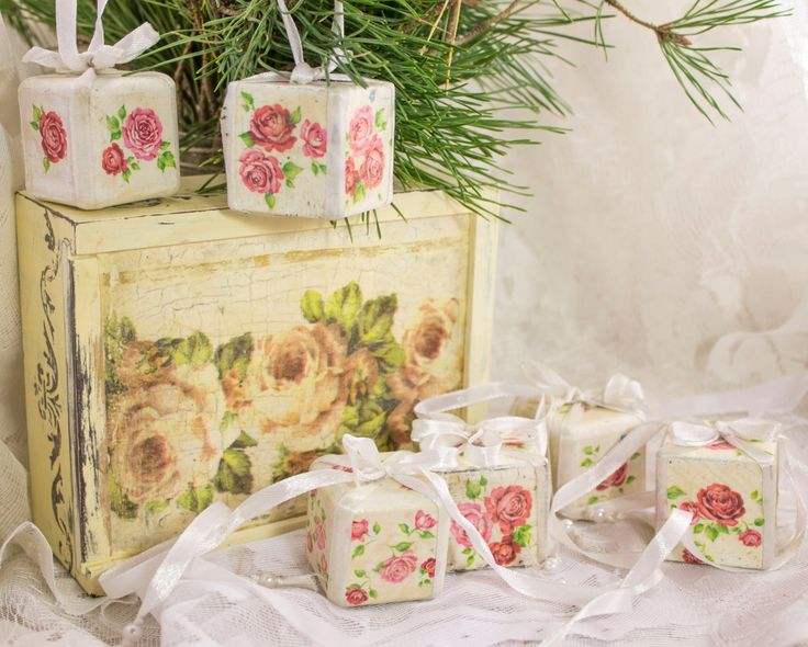 Personalized vintage set of 6 Christmas ornaments in gift box wooden Christmas ornament Christmas decor Christmas tree ornaments shabby chic - pinned by pin4etsy.com