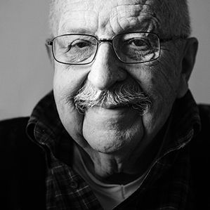 A Q&A with Gene Wolfe. Black and white portrait of Gene Wolfe