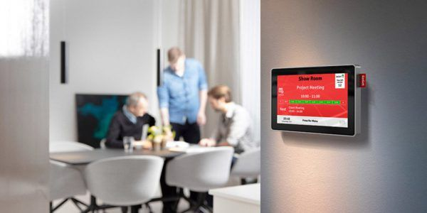 """The Room Sync Room Booking System is a fully customisable solution to eliminate inefficiencies in your room booking procedures, so that people can spend more time in meetings and less time trying to find a room.  The 7"""" and 10"""" touch screens are displayed outside the meeting rooms or in central areas and are synced with your existing room booking system in MS Exchange or Google apps so you can book a room directly from the display or from your PC or mobile."""
