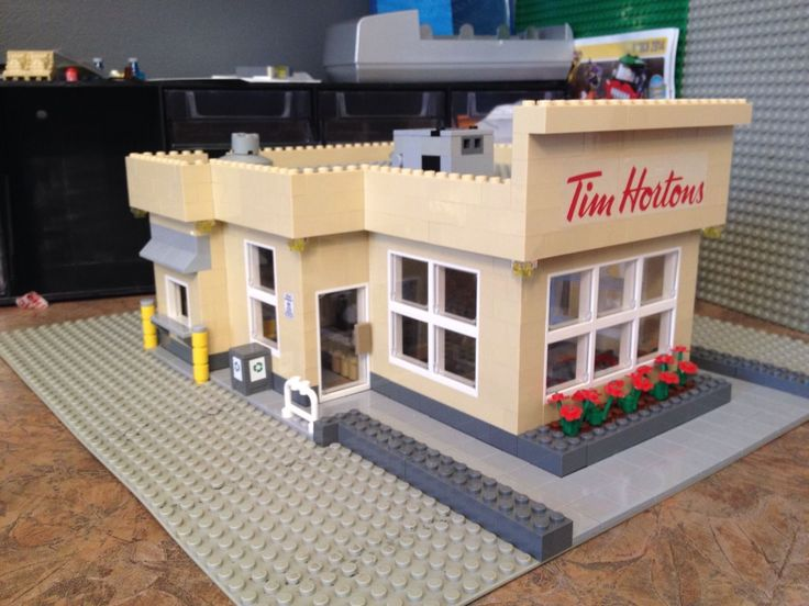 Custom made Tim Hortons LEGO Coffee Shop set comes complete with Drive thru