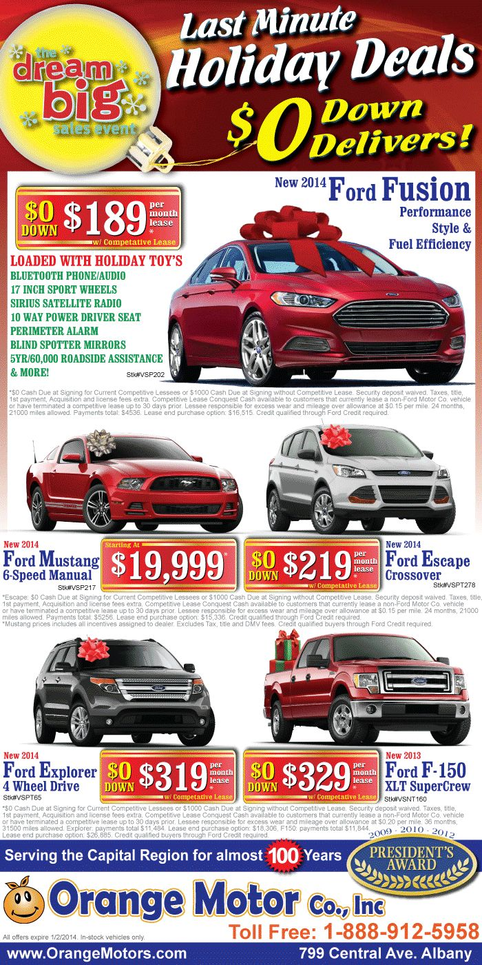 Last Minute Holiday Deals on your new Ford - Fusion, Mustang, Escape, Explorer and F-150 - Good till 1-2-2014