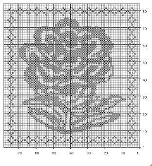 Filet Crochet Chart for a flower